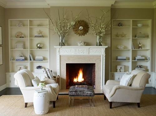 интерьер в классическом стиле с камином