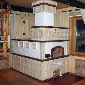 Вариант облицовки керамической плиткой печь